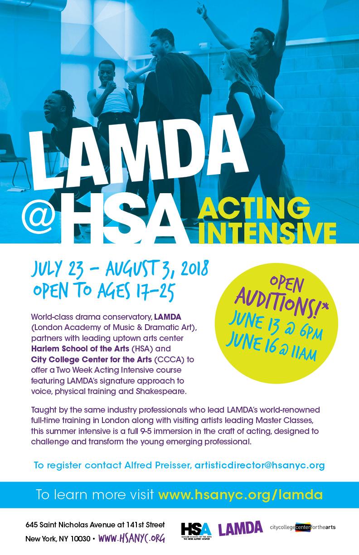 Lamda At Hsa Acting Intensive Harlem School Of The Arts
